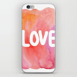 LOVE - typography watercolor painting iPhone Skin