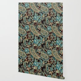 Brown Turquoise Paisley Wallpaper