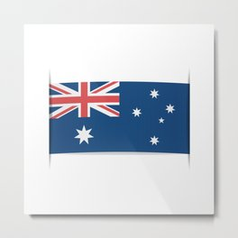 Flag of Australia. The slit in the paper with shadows.  Metal Print