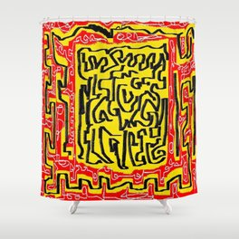 Laberinto red yellow Shower Curtain
