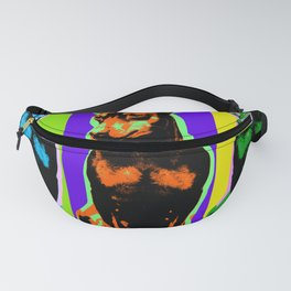 Poster with portrait of a miniature pinscher dog in pop art style Fanny Pack