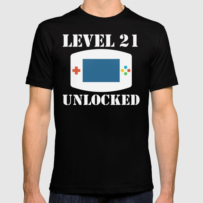 Level 21 Unlocked Video Games 21st Birthday T Shirt By Awesomeart
