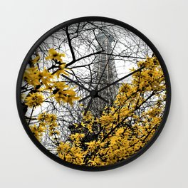 Eiffel Tower yellow flowers Wall Clock