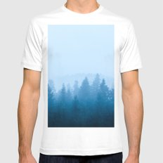 Fog over forest White Mens Fitted Tee MEDIUM