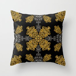 Abstract golden and silver ornament Throw Pillow