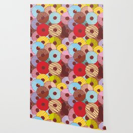 Sweet donuts set with icing and sprinkls isolated, pastel colors on chocolate Wallpaper