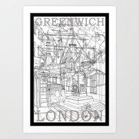 Greenwich London (B&W) Art Print