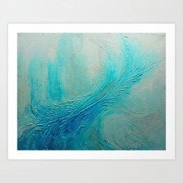 Blue Wave Texture Painting Art Print