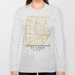ST. LOUIS MISSOURI CITY STREET MAP ART Long Sleeve T-shirt