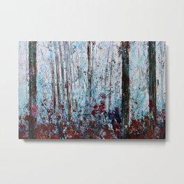 Autumn Smoke - Misty Autumn Forest Scene Metal Print