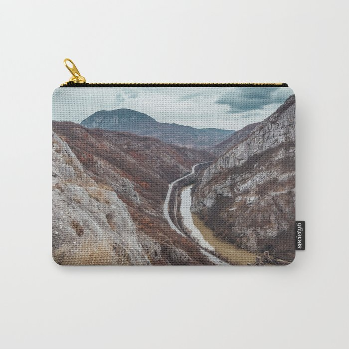 Beautiful photo of the canyon in Serbia, with river and the highway in the middle Carry-All Pouch