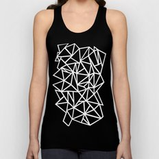 Abstract Outline Thick White on Black Unisex Tank Top