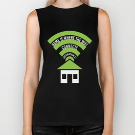 Home Is Where The Wifi Connects Automatically Biker Tank