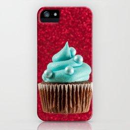 Cupcake Love | Aqua Swirl on Red Sparkle iPhone Case