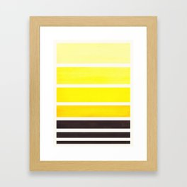 Yellow Minimalist Mid Century Modern Color Fields Ombre Watercolor Staggered Squares Framed Art Print