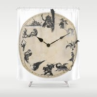 final fantasy Shower Curtains featuring FINAL FANTASY CLOCK by DrakenStuff+