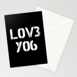 Love you typography black pattern Stationery Cards