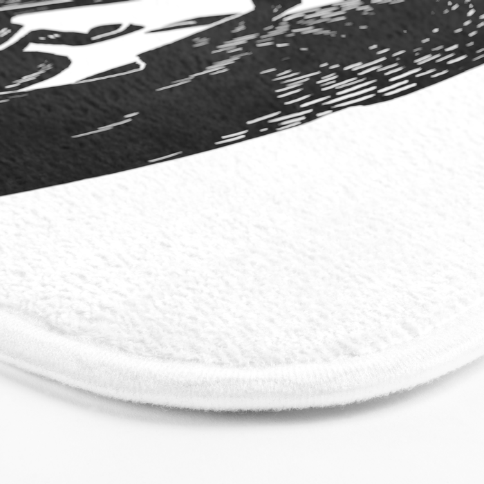 black and white thoughts Bath Mat