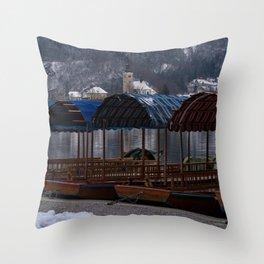 Pletna Boats At Bled Lake Throw Pillow