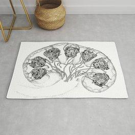 Anatomy Series: Kidney Renal Flowers Rug