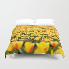 Plenty yellow and red Stresa tulips Duvet Cover