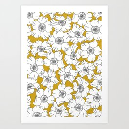 Yellow flowers line drawing - Floral 001 Art Print