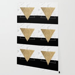 Golden marble deco geometric Wallpaper
