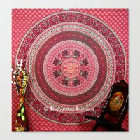 bedding Canvas Prints featuring  Hippie Tapestry Throw Bedding in Red color by Ved India