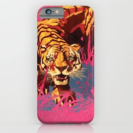 Tiger in pink landscape iPhone Case