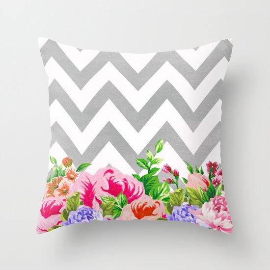 FLORAL GRAY CHEVRON Throw Pillow