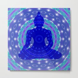 Blue Medicine Buddha Mandala Metal Print