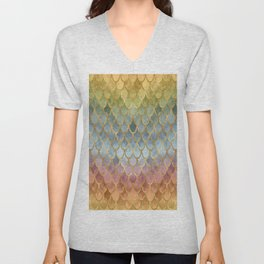 Colorful Fall Mermaid Scales Pattern gold Unisex V-Neck