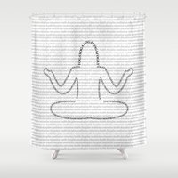 yoga Shower Curtains featuring Yoga,  by Mercesart