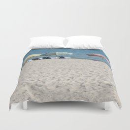 Bald Head Island Beach Umbrellas | Bald Head Island, North Carolina Duvet Cover