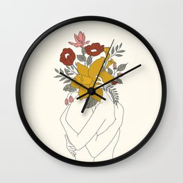 Colorful Blossom Hug Wall Clock