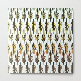 Boho Feather Pattern Metal Print