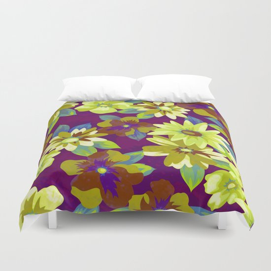 floral pattern on purple background Duvet Cover