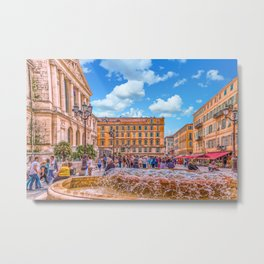 People in Nice Plaza with Fountain Metal Print