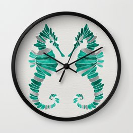 Seahorse – Silver & Turquoise Wall Clock
