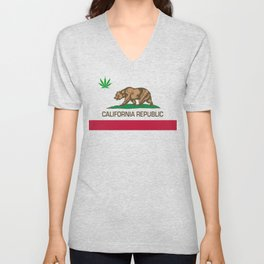 California Republic state flag with green Cannabis leaf Unisex V-Neck