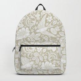 Vintage Elegant White Ivory Cream Swallows Floral Backpack