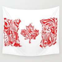 canada Wall Tapestries featuring Canada Flag by David T Eagles