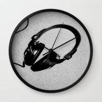 headphones Wall Clocks featuring Headphones by J.Dancer