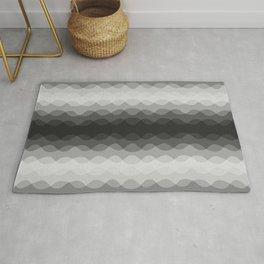 Overlapping Wavy Horizontal Lines Light Gray Mid-tone Gray & Dark Gray Pattern Rug