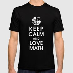 Keep Calm and Love Math LARGE Mens Fitted Tee Black