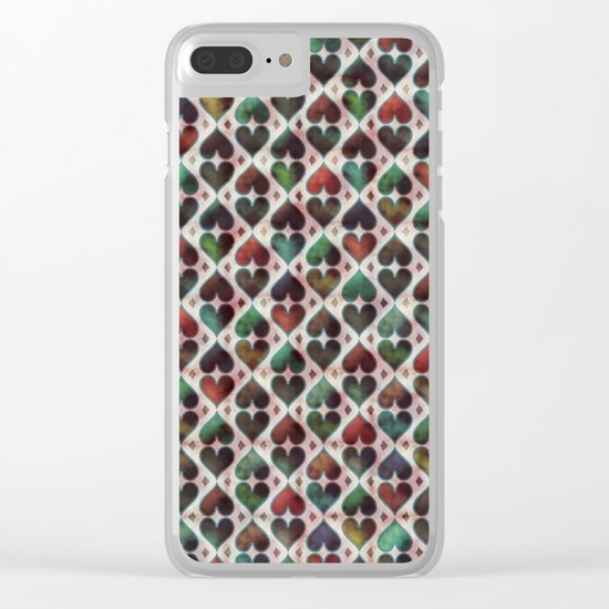 Colorful Love Pattern XIV Clear iPhone Case