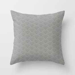 Japanese Wave Seigaiha Super Moon Grey Pattern Throw Pillow