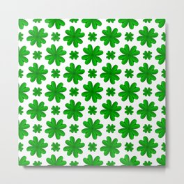 Four Leaf Clover Shamrock Green Vegetation Pattern Metal Print