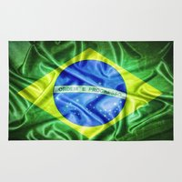 brazil Area & Throw Rugs featuring Brazil flag by DesignAstur