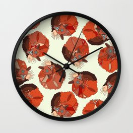 curled fox polka ivory Wall Clock